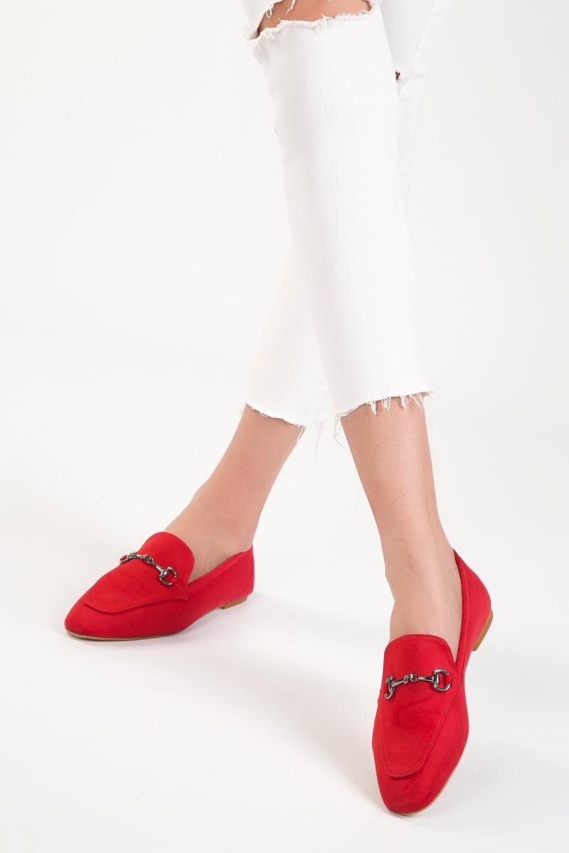 Soho Red Suede Flats Loafers Fringed